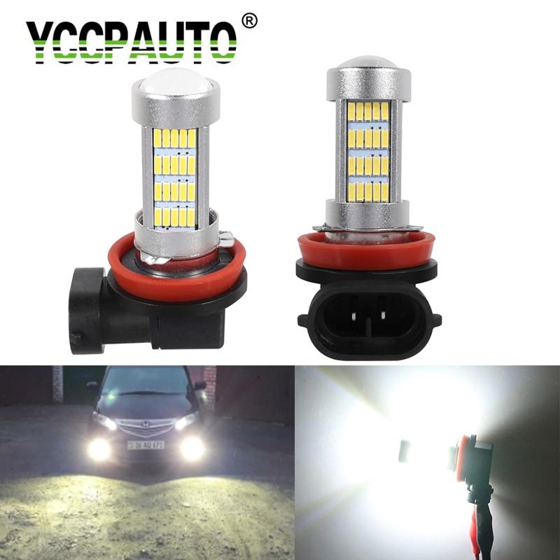 YCCPAUTO 2Pcs H11 H8 LED Fog Lights White Yellow HB4 HB3 9005 9006 LED Fog Lamp Bulbs 4014 92SMD Car DRL Auto Lights 12V-24V