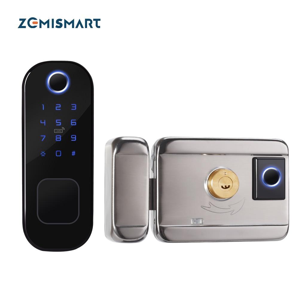 Zemismart تويا واي فاي قفل ذكي مزدوج الجانب بصمة قفل أمان للأبواب اللاسلكية وأقفال البيومترية التشفير مع مفاتيح