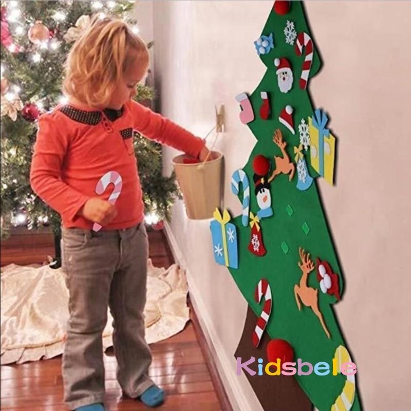 DIY Felt Christmas Tree Kids Toys For Children Kindergarten Crafts Snowman Educational Toys Decoration Best Gifts For Children