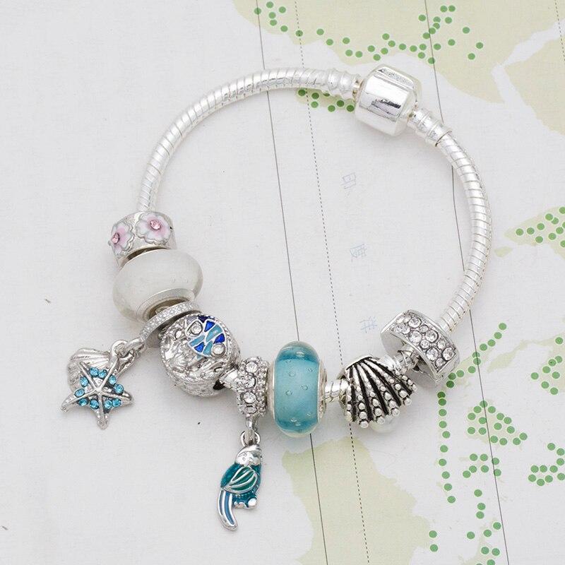 Mingshang الفضة اللون قلادة على شكل طير سحر أساور و الإسورة مع الأزرق الزجاج الخرز مجوهرات النساء أساور