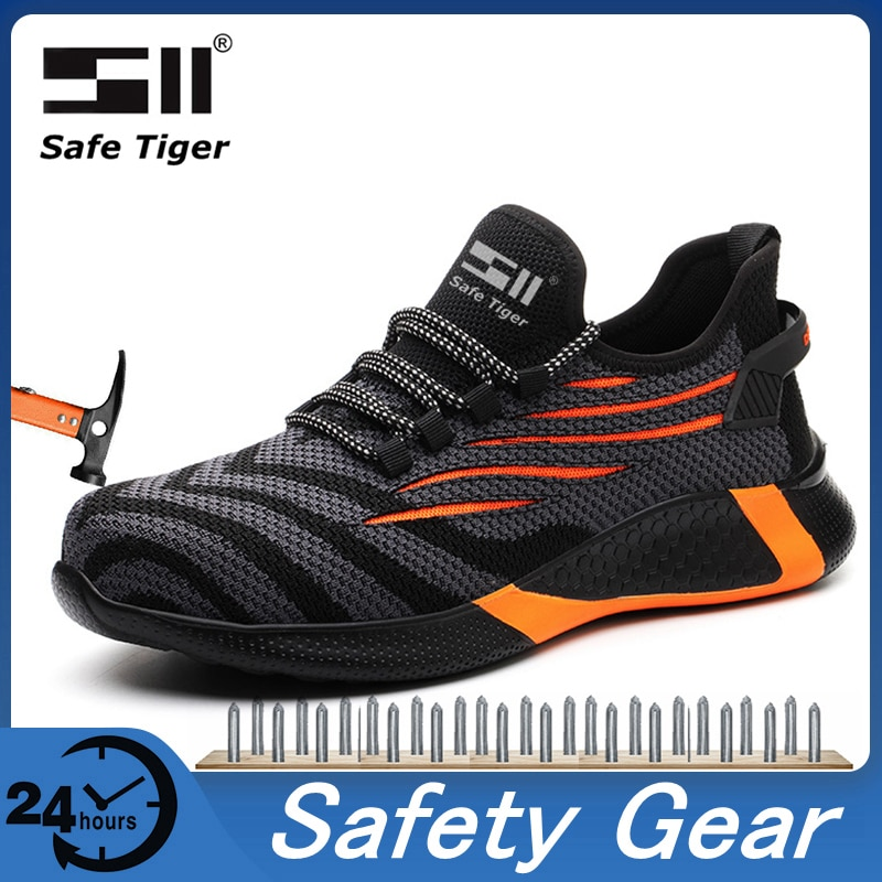 Mens Work Boots Safety Shoes Steel Toe Cap Lightweight Breathable Hike Sneakers Construction Shoes for Men