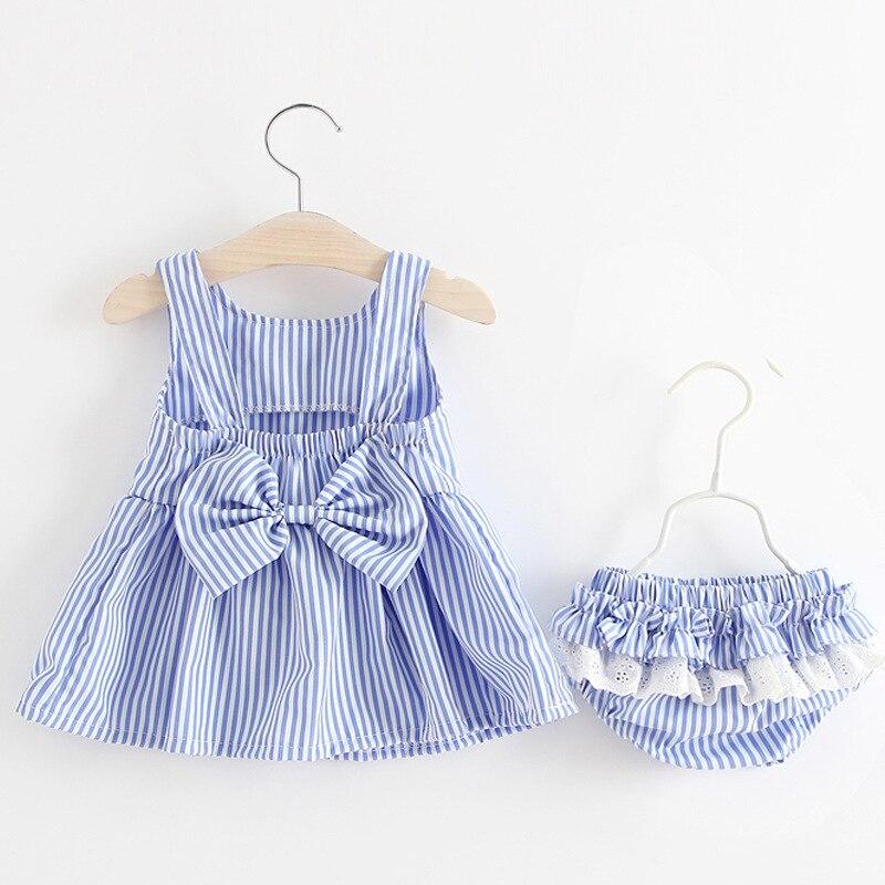 Ropa para niñas recién nacidas, vestido sin mangas y bragas, conjunto de 2 uds, lindos conjuntos de prendas de vestir con estampado de rayas, traje de verano 0-24M