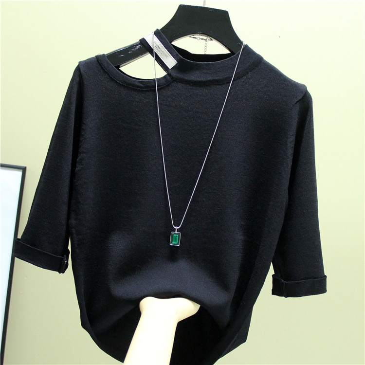Fashion The New Hollow out stripes O-neck Half sleeve sweater bottoming shirt women's loose thin  pullover  summer Style