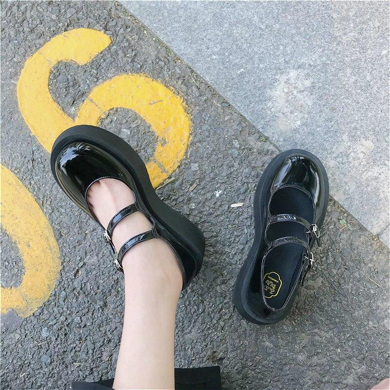 Japonés zapatos Jk negro de estilo británico zapatos de cuero de la Pu de la Universidad Tacón de Cuña traje uniforme zapatos de moda Lolita zapatos de mujer Zapatos
