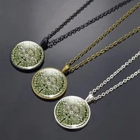 aztec calendar pendant necklace ancient mexicans symbol necklace handmade glass dome jewelry