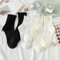 new japanese jk uniform women socks spring and summer lolita curling detachable bowknot fairy soft girl cotton breathable solid