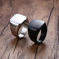 high quality 2018 new stainless steel black mens rings all gloss square solid titanium classic ring wedding engagement jewelry