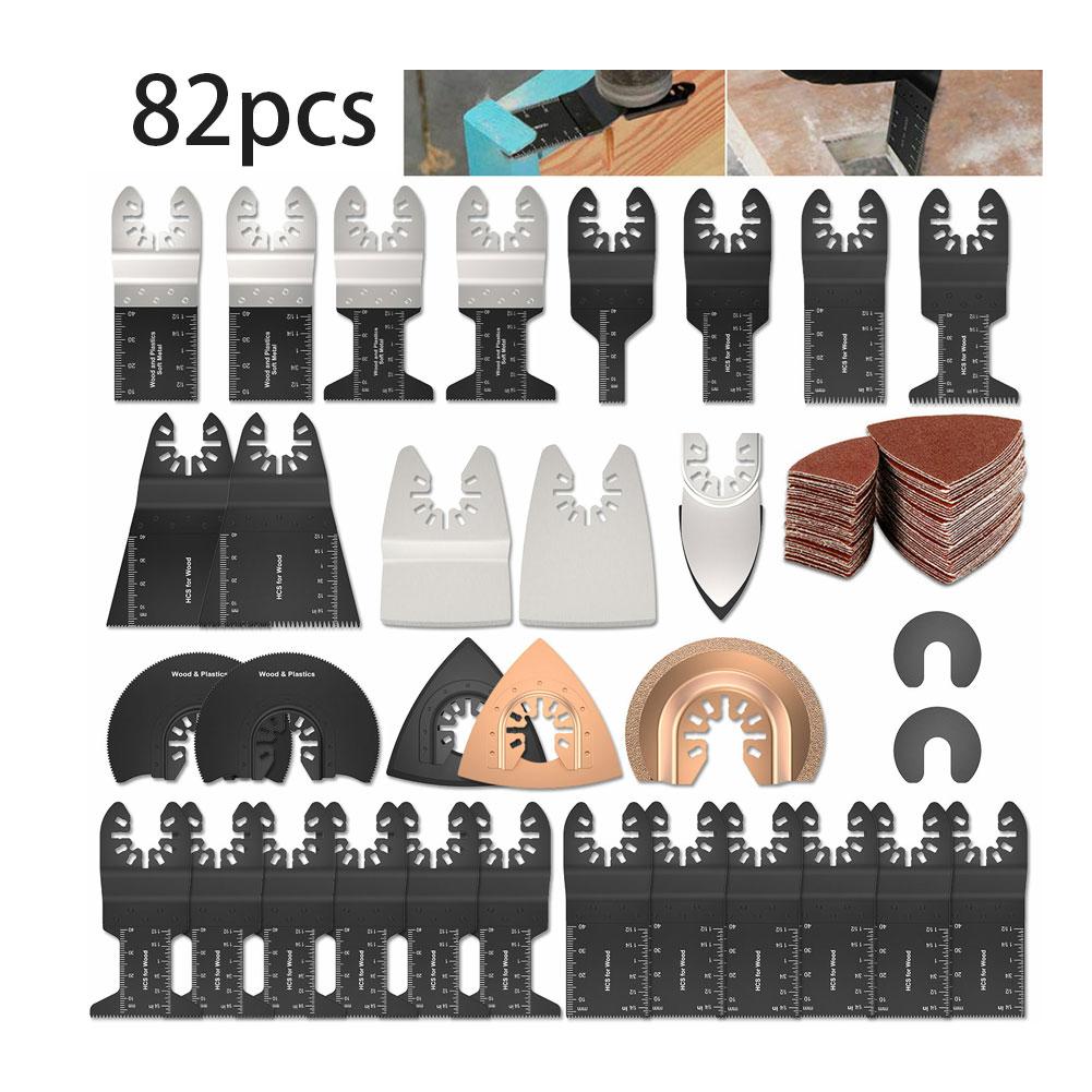 82PCS Oscillating Multitool HCS Saw Blades Accessories Kit Home Oscillating Multitool Blades for Fein Multimaster Dewalt