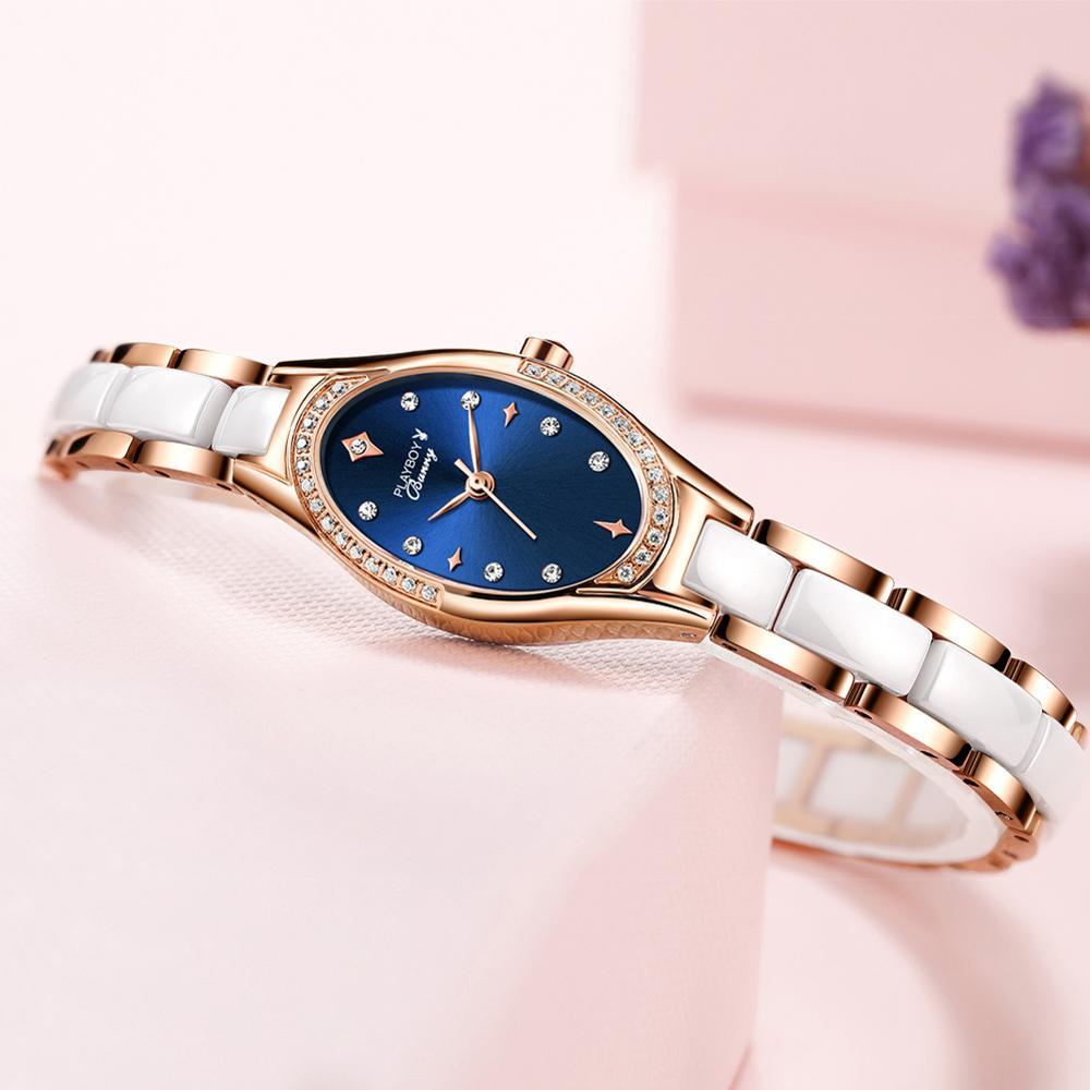Women's quartz wristwatch delicate dial waterproof top brand tungsten steel watchband female clock