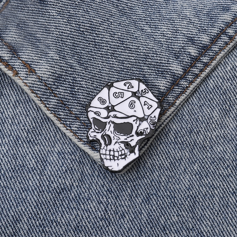 XEDZ sieve skull enamel brooch digital polyhedron gothic badge horror popular punk shirt jewelry clothes lapel button pin  - buy with discount