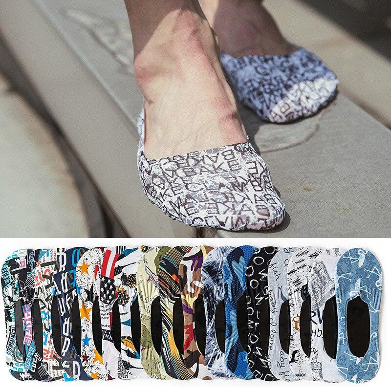 Носки мужские короткие с принтом, тонкие дышащие носки-невидимки, модные силиконовые Нескользящие однотонные, с надписью, летние
