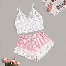Conjunto de pijamas, 2 peças de pijamas de tamanho grande, lingerie feminina, rosa, barato, roupa de dormir, sexy, costas nuas
