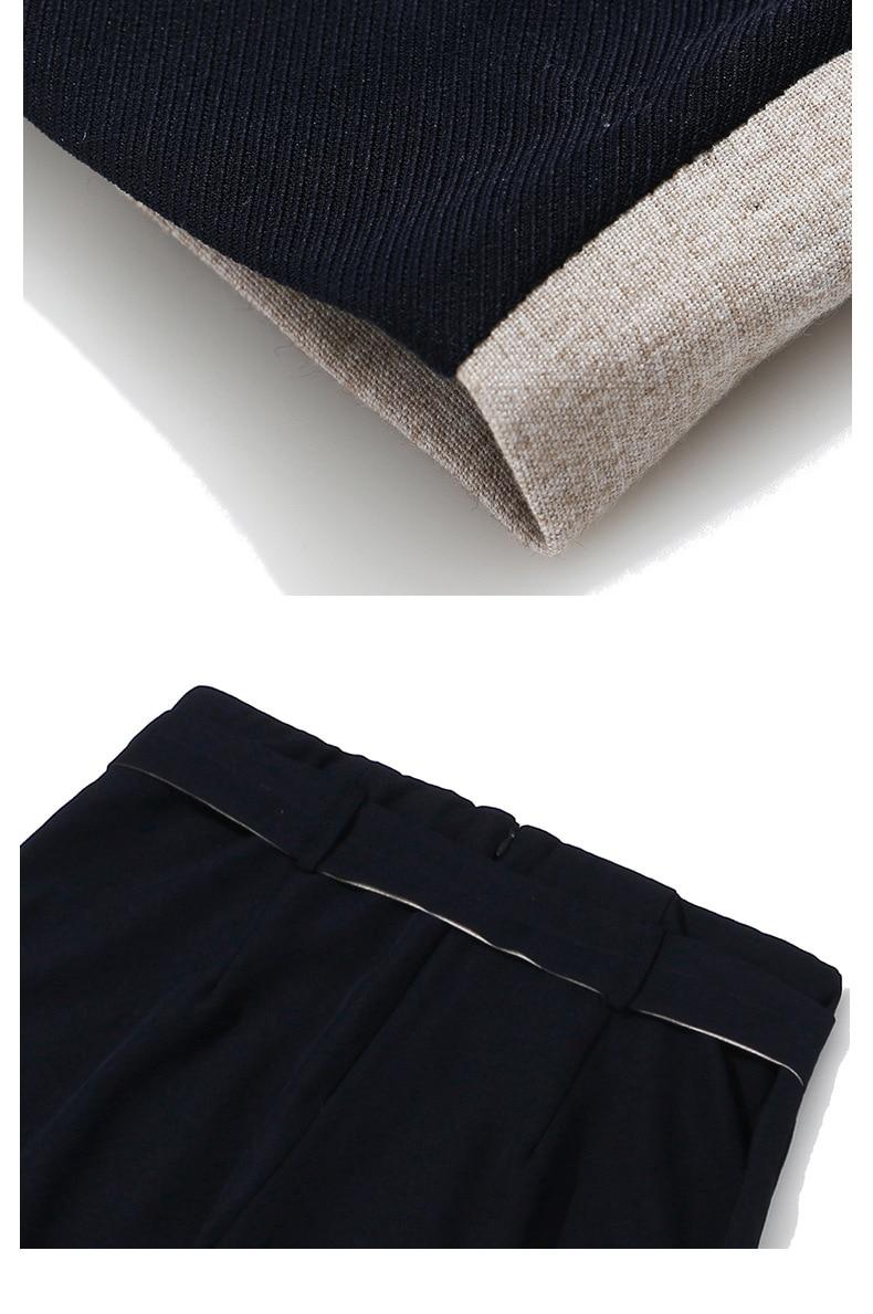 Women Linen Pants Elegant Belt Two Color Block Office Lady Contrast Stitch Trousers Wide Leg Pantsuit Patchwork Straight Palazzo