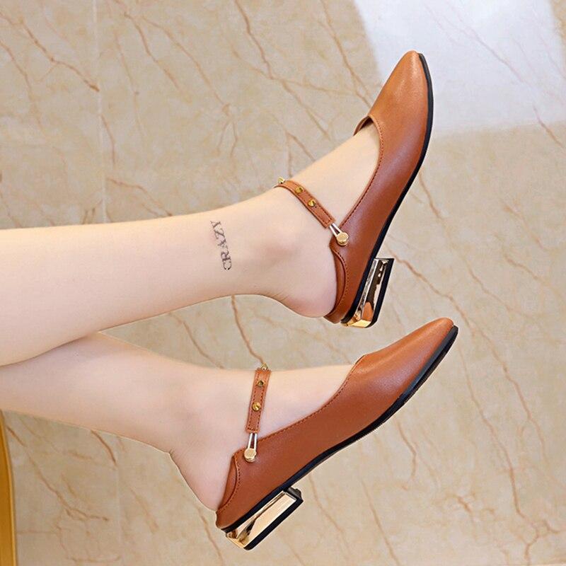 Zapatos planos de talla grande de mujer, zapatos planos Mary Janes Shose, zapatos planos de Ballet para mujer, tacones bajos planos, zapatos de boda con remaches, zapatos informales 7660L