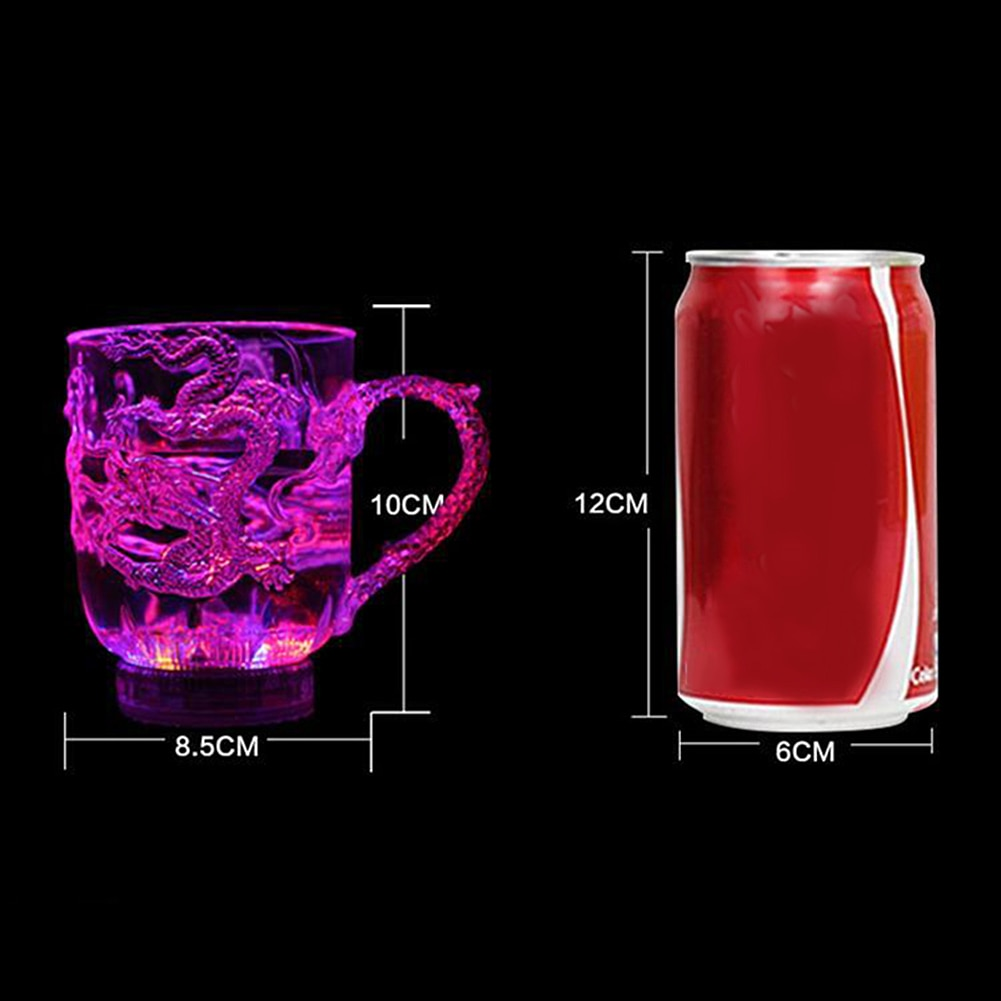 Светодиодный творчества Волшебная Цвет изменение чаша с драконом активированную воду светильник-Up пива Кофе молока Чай винный стакан для Виски Бар кружка для путешествий, подарок