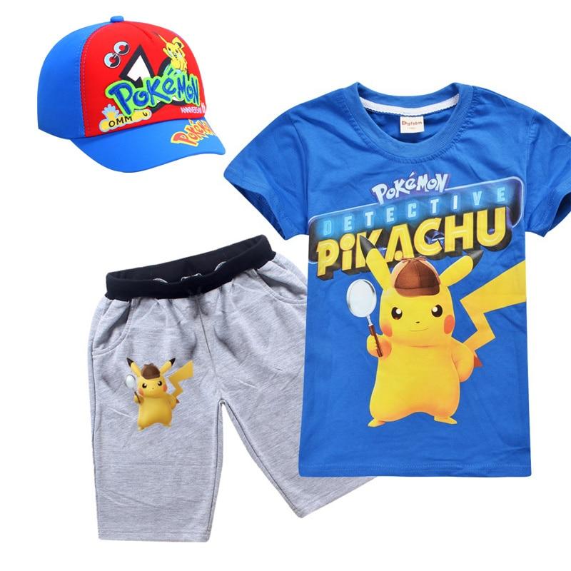 Anime Pokemon aller Cosplay Costume T-shirt ensemble pour garçons filles accessoires chapeaux casquette de Baseball enfants poche monstre vêtements chemises