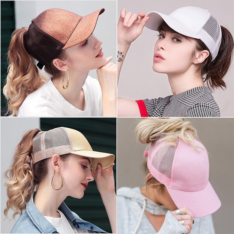 Gran oferta 2020, gorra de béisbol con cola de caballo brillante, gorra con Cierre trasero ajustable para papá, gorras para mujeres, moño desordenado, gorra deportiva de malla de Hip Hop