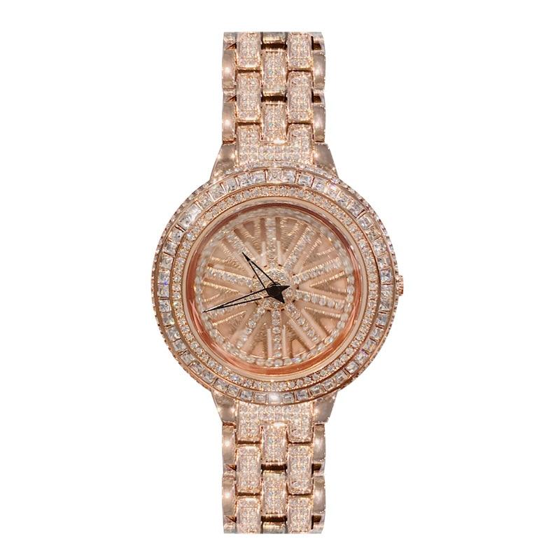 ساعة نسائية دوارة من حجر الراين ، ساعة يد فاخرة ، مينا كبيرة ، كريستال ، ساعة نسائية ، مجموعة جديدة 2019