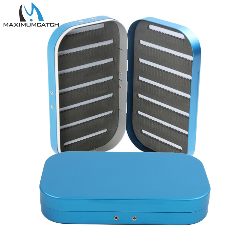 Caja de pesca con mosca de aluminio Maximumcatch 154*90*27mm caja de mosca de espuma con abertura lateral doble Color azul/verde/rojo