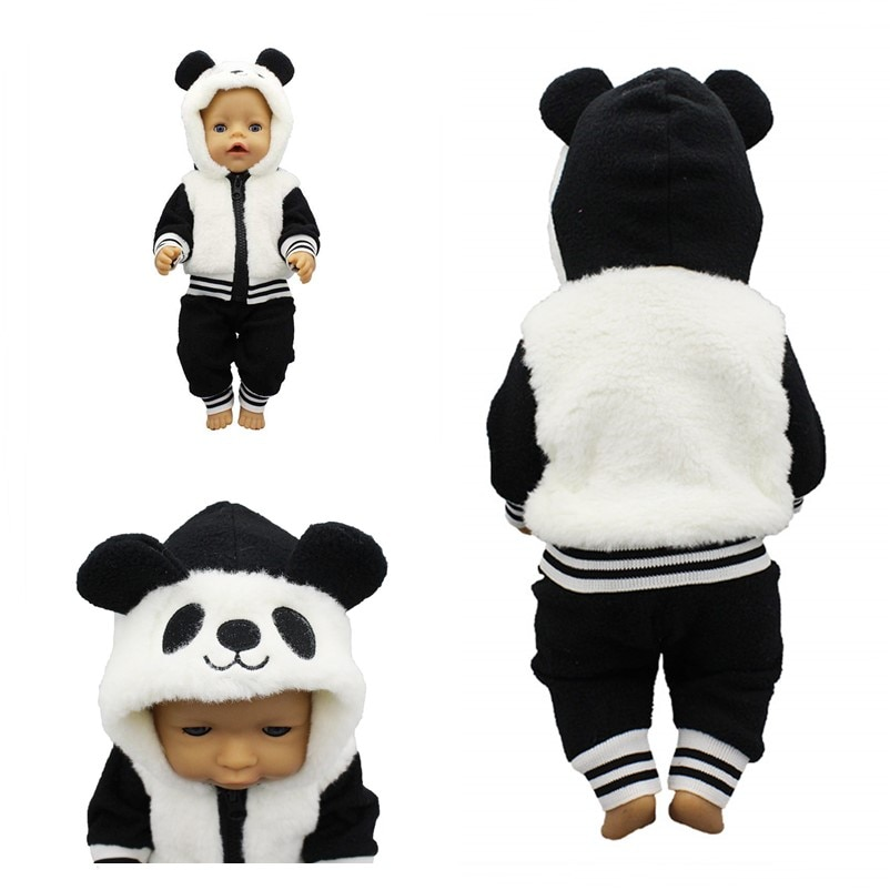 Born New Baby Fit 17 Inch 43cm Doll Clothes Accessories Three Pieces of Black White Panda Suit For B