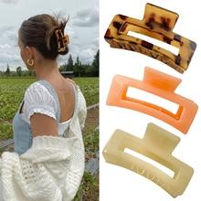 Women Hair Claws Crab Soild Color Hair Clips Rectangle Resin plastic  Geometric Hairpins Girl decora