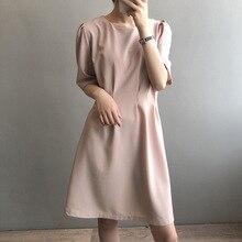 2020 летнее Новое темпераментное элегантное платье с высокой талией, круглый вырез, короткий рукав, простая Талия, платье для похудения, женск...