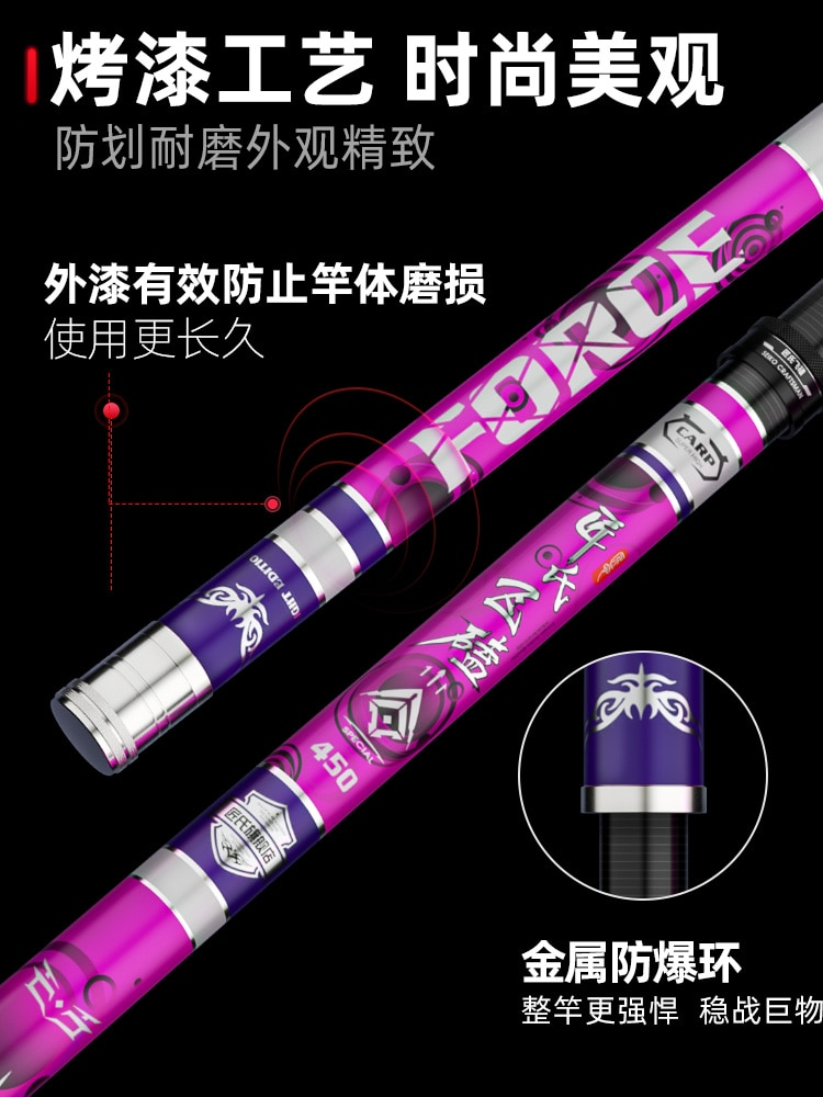 Carbon Fishing Rod Telescopic Purple Hard Fishing Rod Extra Strong Super Light Vara De Pesca Telescopica Fishing Tackle EI50FR enlarge