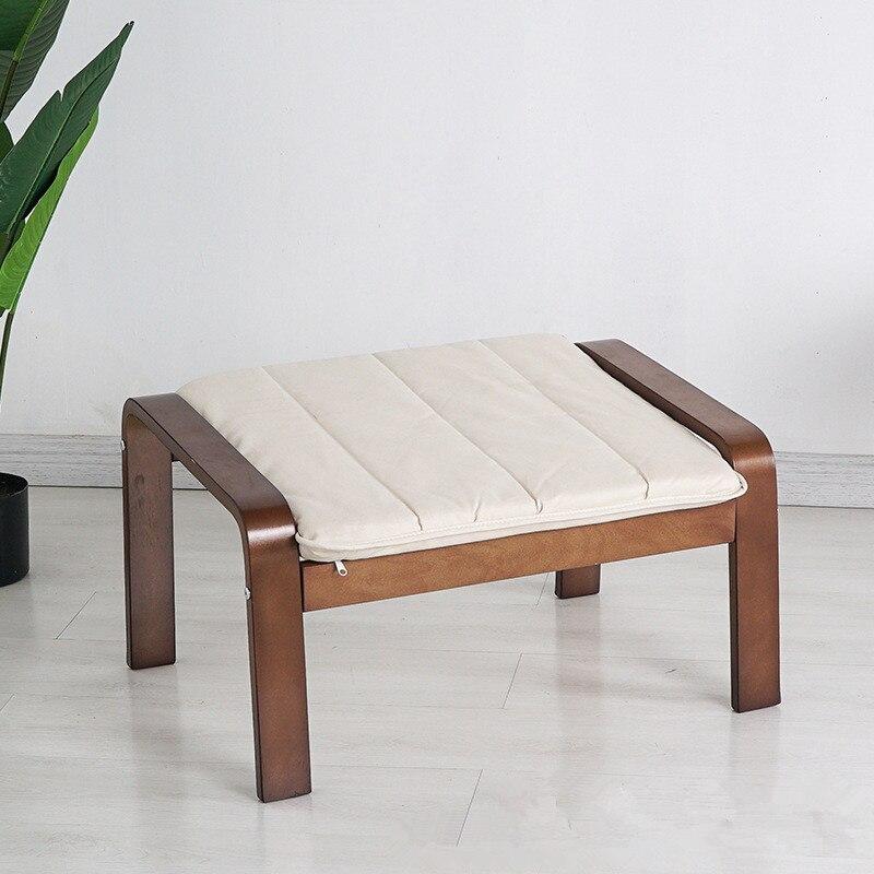 Reposapiés otomano Original de mediados de siglo, taburete de madera de acabado marrón medio, asiento otomano de sala de estar para mecedora