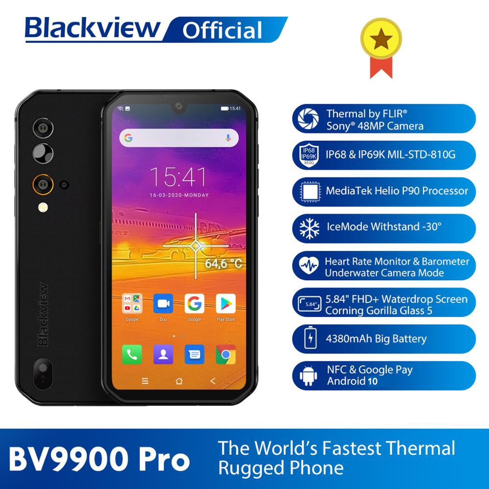 Blackview BV9900 Pro Thermal Camera Mobile Phone Helio P90 Octa Core 8GB 128GB IP68 4G Rugged Smartphone 48MP Quad Rear Camera