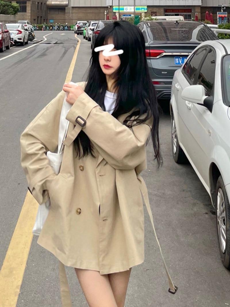 Autumn Korean 2021 New Windbreaker Khaki Loose Medium Length Long Sleeve Double Breasted Temperament