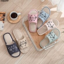 SAGACE Women Summer Slippers cartoon Cat Hemp Linen Flip Flops Soft breathable Shoes Female home comfortable Slippers
