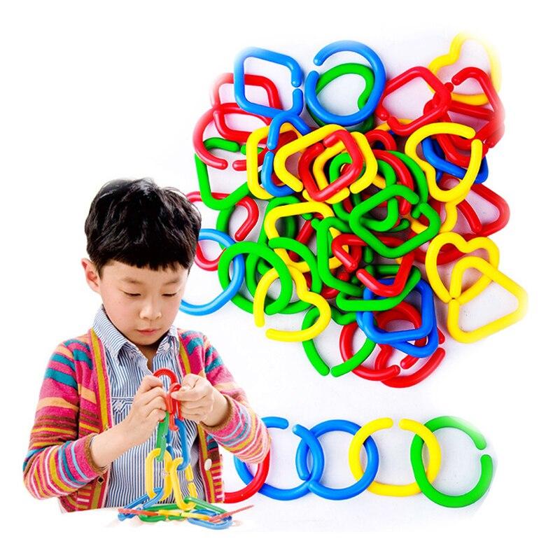 Geométrica de la cadena de juguete para niños los niños enlace bloques habilidades de Motor finas Kinder educativo