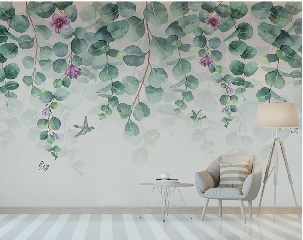 american style bedroom wall covering modern vintage pink floral wallpaper blue tropical butterfly birds flower wall paper Custom wallpaper Nordic minimalist tropical leaves flowers butterfly birds bedroom background wall-waterproof material