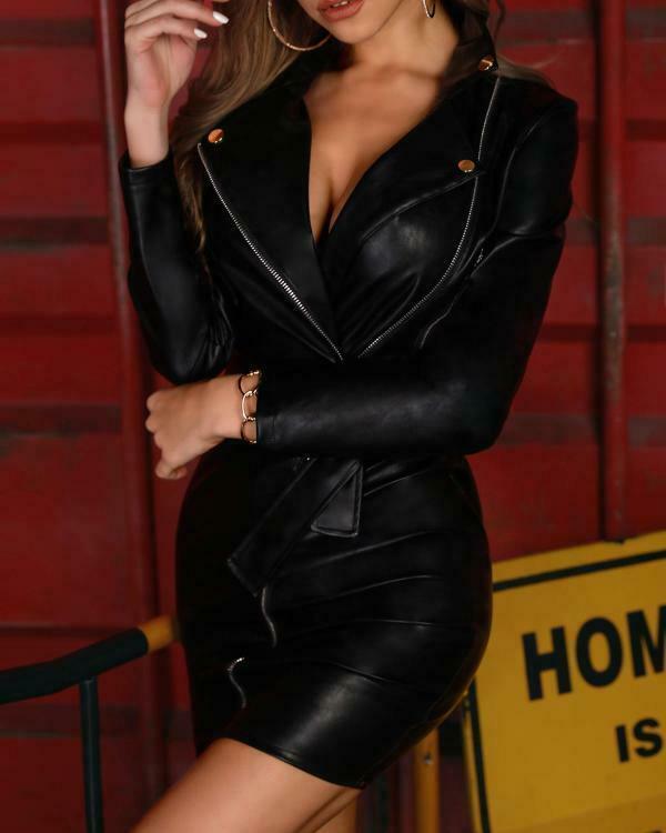 Kobiety Glamaker PU skóra v neck sexy obcisła sukienka kobiety wysokiej talii mini sukienka na imprezę kobieta jesień zamek czarna sukienka klubowa