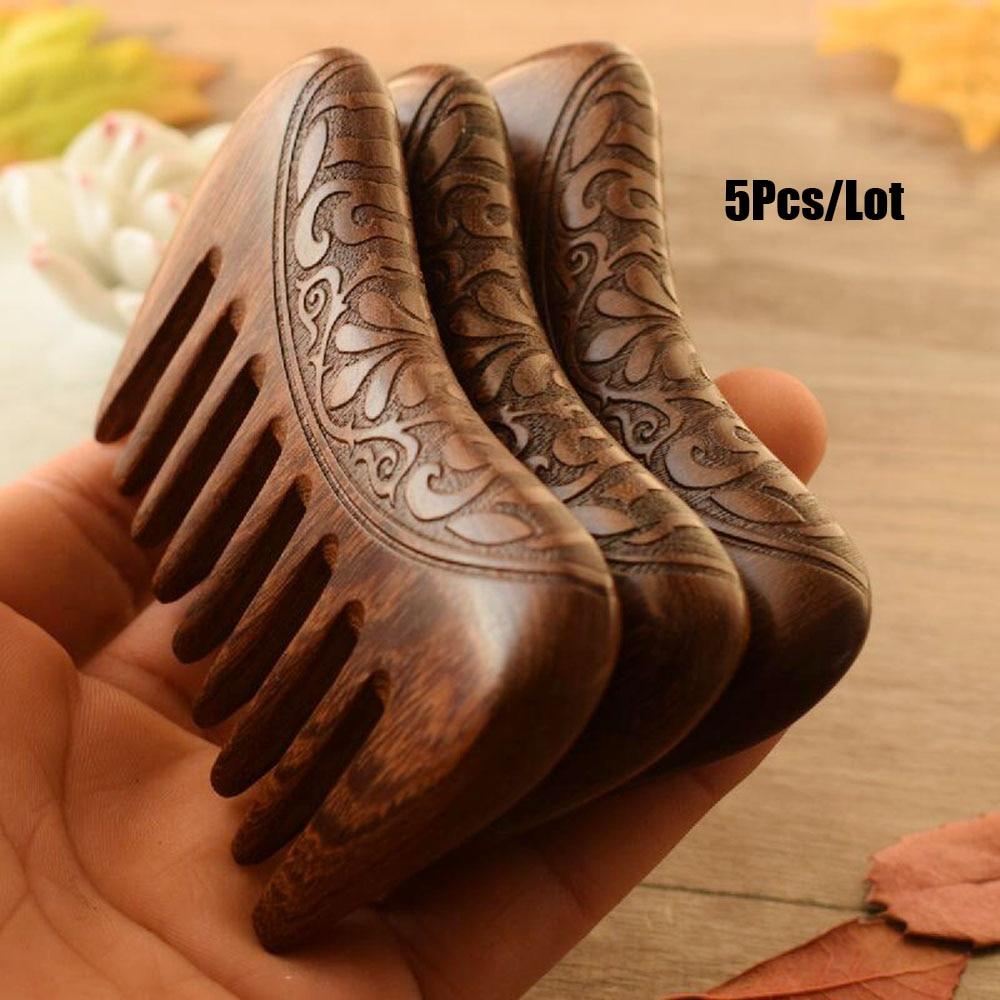 5 pcs lote pente de madeira natural ouro sandalo super largo dente pentes de madeira