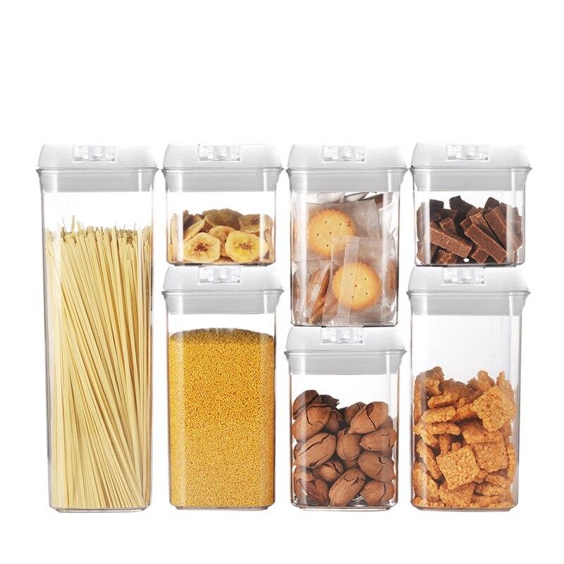 أحدث 7 قطعة 1900/1200/800/500 مللي حاويات طعام الجافة محكم الهواء الغذاء تخزين زجاجات تكويم الحاويات متعددة الحبوب توفير مساحة