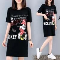 print tshirt dresses women minnie mickey short sleeve dress summer fashion casual loose streetwear robes femme vestido