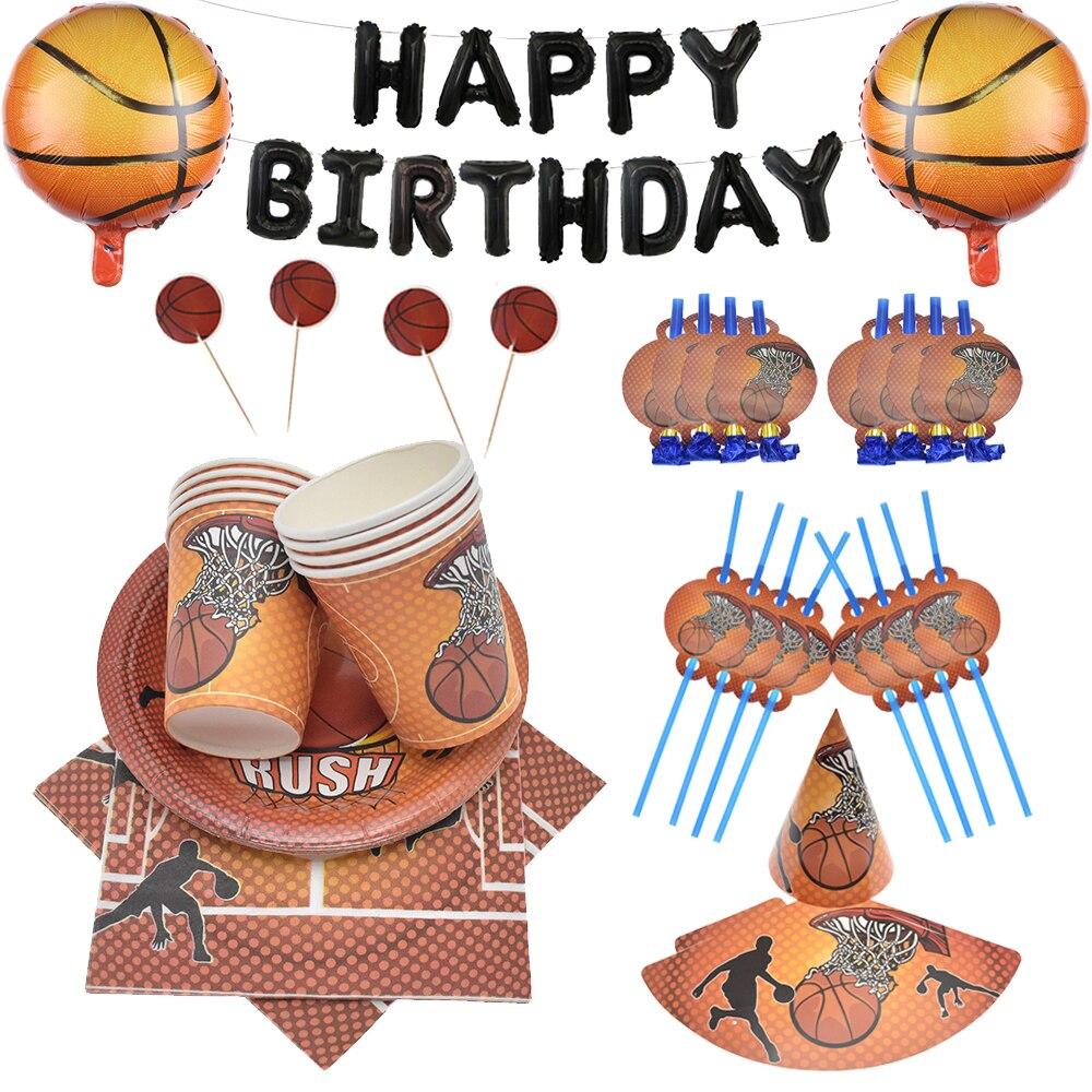 Basket thème jetable vaisselle ensemble serviette assiettes tasses garçon fête danniversaire gâteau déco bébé douche ballons décoration