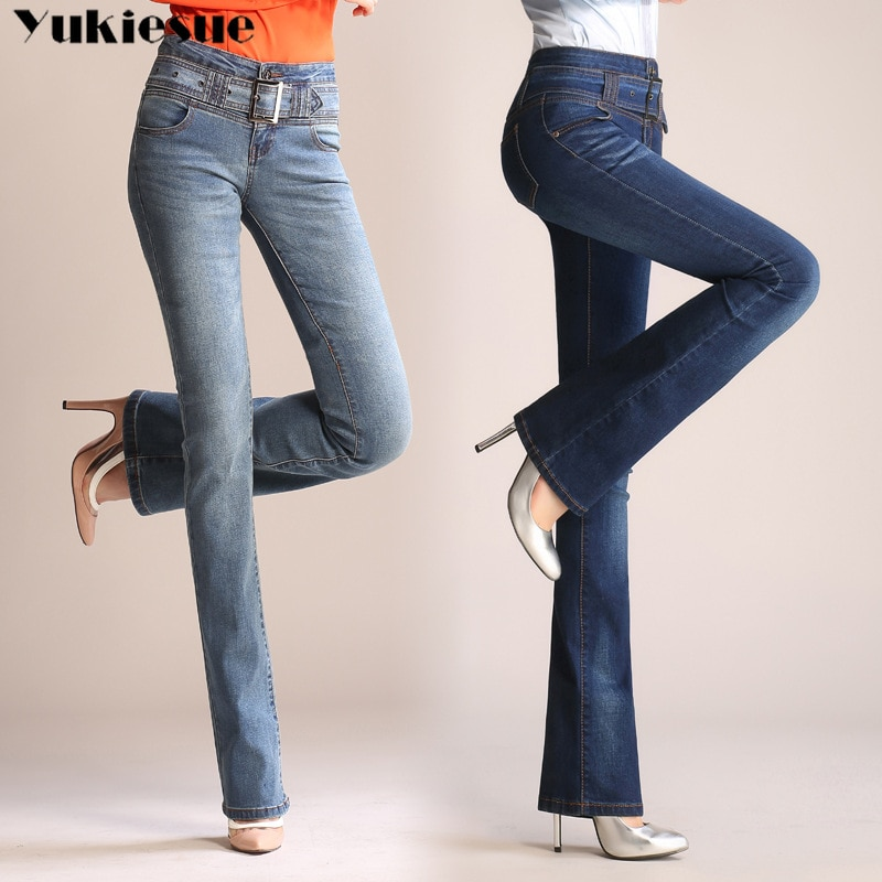Plus size 26-33 skinny 2019 new autumn flare blue denim jeans woman with high waist flared pants fem