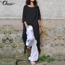 Celmia 2020 Sommer Tops Vintage Frauen Blusen Halbe Hülse O Ansatz Beiläufiges Tunika Shirts Lose Unregelmäßige Lange Blusas Mujer Plus größe