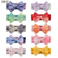 2021 new arrival 5 tie die velvet hair bow baby head wrap trendy diy hair accessories girls fashion diy headband head wear