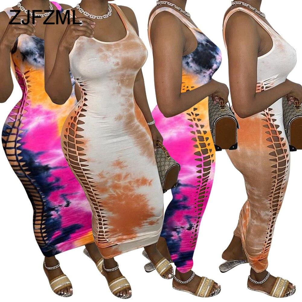 Vestido de tubo sexi sin un lado doble para mujer, cuello redondo, sin mangas, vestido de fiesta, vestido de fiesta Vintage con estampado teñido, vestido a la cadera