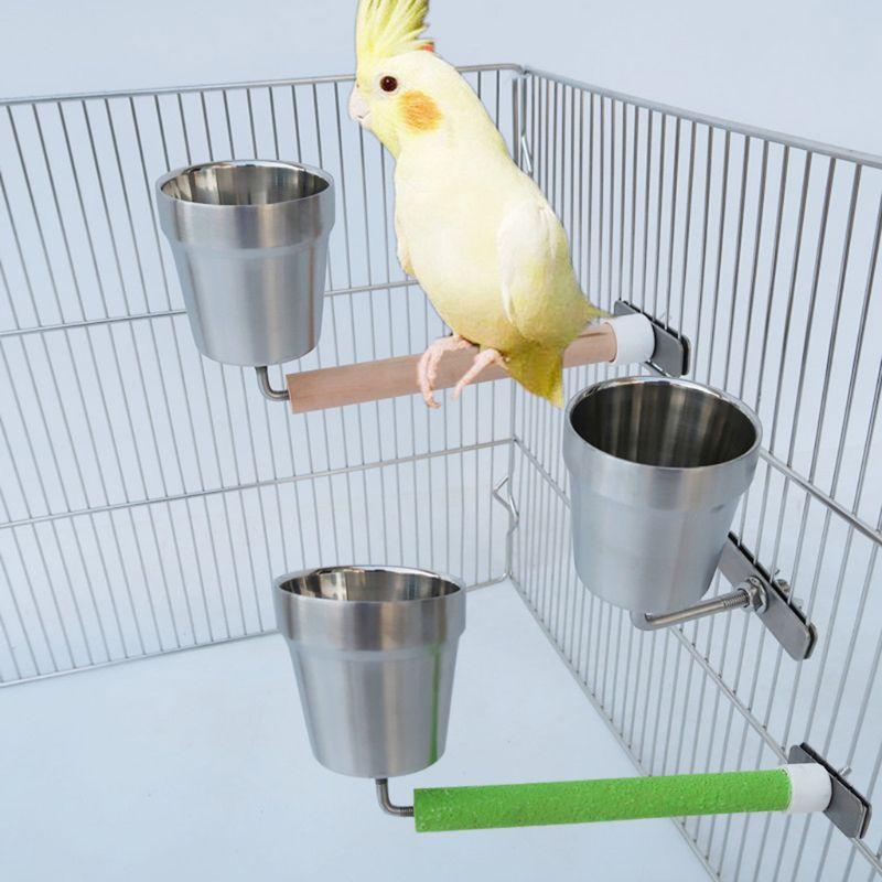 Alimentador de loro para mascotas de acero inoxidable, taza de comida, plato de alimentación para loros, tazón de agua, contenedor, suministros de alimentación para pájaros C42