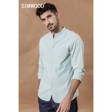 SIMWOOD stehen kragen Vertikale gestreiften shirts männer 100% baumwolle klassische denim slim fit minimalis casual hemd CS135