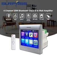 Amplificateur mural Bluetooth 4 canaux 25W classe D  ecran tactile Audio pour haut-parleur  systeme Home cinema intelligent  Radio FM Aux