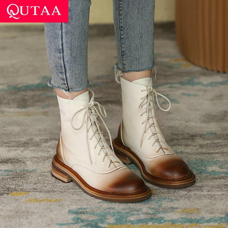 QUTAA 2022 منصة السيدات حذاء من الجلد الدانتيل يصل موجزة جلد طبيعي جولة تو موضة ساحة كعب النساء أحذية حجم 34-42