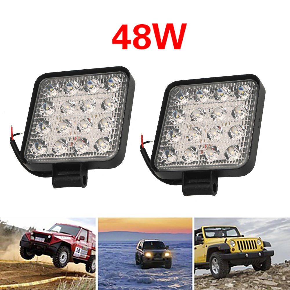 Square 48W LED Work Light 12-30V Spot&Flood For Offroad ATV Truck Tractor Motorcycle Driving Fog Light Spotlight