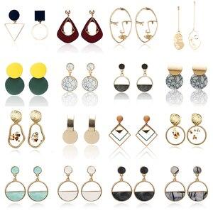2020 новые модные Металлические Круглые Подвесные серьги, Красочные акриловые геометрические серьги для женвечерние