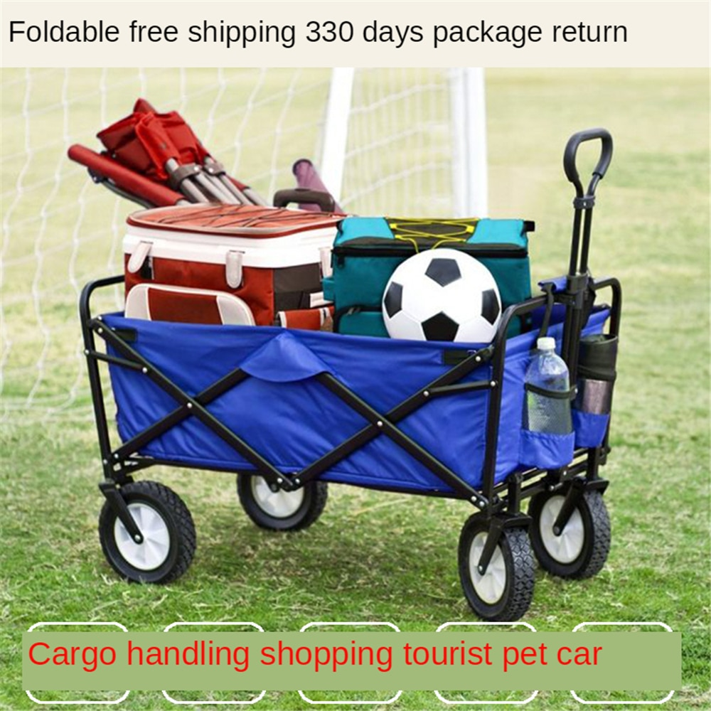 Folding Collapsible Utility Wagon Cart Wide Wheels Removeable Cover Perfect for Golf Sport Event Camping Shopping