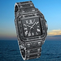 PINTIME Brand Luxury Men Watches Hip Hop Iced Out Watch MEN Gold Clock Steel Square Quartz Wristwatch Relojes Relogio Masculino